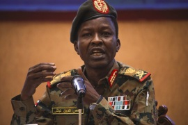 Sudan's ruling Military Council spokesperson Shamseddine Kabbashi- – KHARTOUM, SUDAN – MAY 08: Sudan's ruling Military Council spokesperson Shamseddine Kabbashi makes a speech as he holds a press conference at the Presidential Palace in Khartoum, Sudan on May 08, 2019.