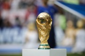 France vs Croatia: Final – 2018 FIFA World Cup- – MOSCOW, RUSSIA – JULY 15: FIFA World Cup trophy is seen ahead of the 2018 FIFA World Cup Russia final match between France and Croatia at the Luzhniki Stadium in Moscow, Russia on July 15, 2018.