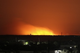Attacks in Syria's Idlib- – IDLIB, SYRIA – JUNE 01: A blast illuminates the night sky after an alleged napalm bomb attack by Assad Regime and Russia in the de-escalation zone of Khan Shaykhun town of Syria's Idlib on June 01, 2019. It is claimed that crops in a cultivation field were destroyed with napalm bomb. Four civilians were reported dead in the attacks carried out after the iftar (fast-breaking) meal time in Idlib de-escalation zone.