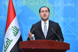 Iraqi Ministry of Foreign Affairs Spokesman Ahmed Alsahaf – – BAGHDAD, IRAQ – FEBRUARY 27 : Iraqi Ministry of Foreign Affairs Spokesman, Ahmed Alsahaf speaks during a press conference at the Foreign Ministry in Baghdad, Iraq on February 27, 2019.
