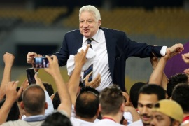 Football Soccer – Egyptian Cup Final – Smouha v Zamalek – Borg El Arab Stadium, Alexandria, Egypt – May 15, 2018   Zamalek president Mortada Mansour celebrates after winning the Egyptian Cup   REUTERS/Mohamed Abd El Ghany