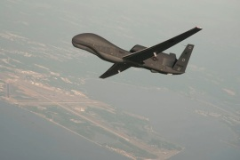 A RQ-4 Global Hawk drone is conducting tests over Naval Air Station Patuxent River, Maryland, U.S. in this undated U.S. Navy