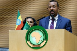 International Women's Day in Ethiopia- – ADDIS ABABA, ETHIOPIA – MARCH 08: Ethiopia's Prime Minister Abiy Ahmed delivers a speech during an event organized to mark the International Women's Day at African Union building in Addis Ababa, Ethiopia on March 8, 2019.