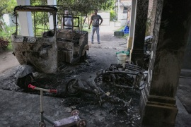 THUMMODARA, SRI LANKA – MAY 14: A muslim owned home that was attacked by a mob is seen on May 14, 2019 in Thummodara, Sri Lanka. Sri Lanka ordered a nationwide curfew for the second night in a row on Tuesday after a wave of anti-Muslim riots in the wake of the Easter bombings. According to reports, a Muslim man was hacked to death by an angry mob on Monday while mosques and Muslim-owned shops were vandalised or set on fire in districts north of Sri Lanka's capital, Colombo. (Photo by Allison Joyce/Getty Images)