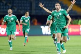 Soccer Football – Africa Cup of Nations 2019 – Quarter Final – Ivory Coast v Algeria – Suez Stadium, Suez, Egypt – July 11, 2019  Algeria's Islam Slimani celebrates after the match                REUTERS/Suhaib Salem