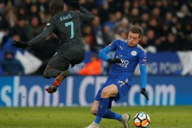 Soccer Football – FA Cup Quarter Final – Leicester City vs Chelsea – King Power Stadium, Leicester, Britain – March 18, 2018   Leicester City's Jamie Vardy in action with Chelsea's N'Golo Kante   REUTERS/Andrew Yates