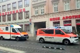 First responders attend to the scene after a fatal shooting in Halle, Germany October 9, 2019. Nonstopnews/Reuters TV via REUTERS THIS IMAGE HAS BEEN SUPPLIED BY A THIRD PARTY. GERMANY OUT. NO COMMERCIAL OR EDITORIAL SALES IN GERMANY. TV Restrictions: Broadcasters: NO ACCESS GERMANY Digital: NONE. For Reuters customers only.