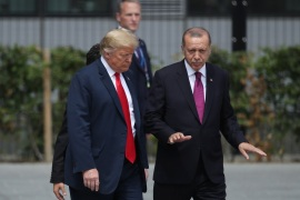 BRUSSELS, BELGIUM – JULY 11:  U.S. President Donald Trump (L) and Turkish President Recep Tayyip Erdogan attend the opening ceremony at the 2018 NATO Summit at NATO headquarters on July 11, 2018 in Brussels, Belgium. Leaders from NATO member and partner states are meeting for a two-day summit, which is being overshadowed by strong demands by U.S. President Trump for most NATO member countries to spend more on defense.  (Photo by Sean Gallup/Getty Images)