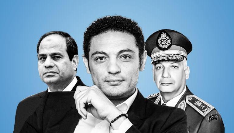 محمد علي (وسط) يكرر دعوته للجيش المصري بعزل الرئيس عبد الفتاح السيسي (مواقع التواصل الاجتماعي)