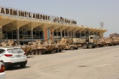 UAE military vehicles are seen at the international airport of the southern port city of Aden, Yemen August 5, 2015. Picture taken August 5, 2015. REUTERS/Fawaz Salman
