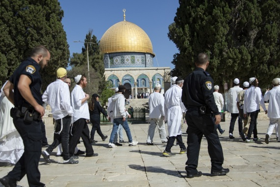 Fanatic Jews continue to raid Al-Aqsa Mosque Compound- – JERUSALEM – SEPTEMBER 30: Fanatic Jews, under Israeli police protection, enter the atrium of Al-Aqsa Mosque Compound in East Jerusalem's Old City on September 30, 2019.