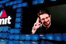 Edward Snowden gestures as he speaks via livestream at Web Summit in Lisbon, Portugal, November 4, 2019.  REUTERS/Rafael Marchante