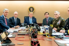 U.S. President Donald Trump, U.S. Vice President Mike Pence (2nd L), U.S. Secretary of Defense Mark Esper (3rd R), along with members of the national security team, watch as U.S. Special Operations forces close in on ISIS leader Abu Bakr al-Baghdadi, in the Situation Room of the White House in Washington, U.S., October 26, 2019. Picture taken October 26, 2019. Shealah Craighead/The White House/Handout via REUTERS THIS IMAGE HAS BEEN SUPPLIED BY A THIRD PARTY. TPX IMAGES OF THE DAY