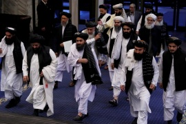Taliban officials led by the movement's chief negotiator Mullah Abdul Ghani Baradar (C, front) attend peace talks between senior Afghan politicians and Taliban negotiators in Moscow, Russia May 29, 2019. REUTERS/Evgenia Novozhenina