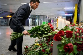 Ukrainian President Volodymyr Zelenskiy lays flowers to commemorate victims of the Ukraine International Airlines Boeing 737-800 plane crash, at a memorial in Boryspil International airport outside Kiev, Ukraine January 9, 2020. Ukrainian Presidential Press Service/Handout via REUTERS ATTENTION EDITORS – THIS IMAGE WAS PROVIDED BY A THIRD PARTY.