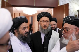 Head of Political Office of Taliban Mohammad Abbas Stanikzai (R) and chief negotiator Mullah Abdul Ghani Baradar (L) attend peace talks with Afghan senior politicians in Moscow, Russia May 30, 2019. REUTERS/Evgenia Novozhenina
