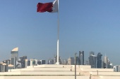 The Qatari flag is seen at a park near Doha Corniche, in Doha, Qatar February 17, 2018. Picture taken February 17, 2018. REUTERS/Ibraheem al Omari