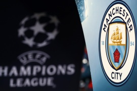 BASEL, SWITZERLAND – FEBRUARY 13: The Manchester City badge and UEFA logo can be seen prior to the UEFA Champions League Round of 16 First Leg match between FC Basel and Manchester City at St. Jakob-Park on February 13, 2018 in Basel, Switzerland. (Photo by Catherine Ivill/Getty Images)