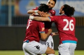 Egyptian Premier League – Pyramids FC v Zamalek – 30 June Air Defense Stadium, Cairo, Egypt – April 23, 2019 Pyramids' Ali Gabr celebrates scoring their first goal with team mates REUTERS/Amr Abdallah Dalsh