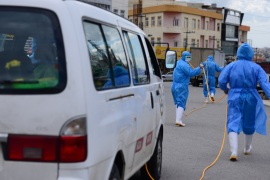 Coronavirus precautions in Iraq's Sulaymaniyah- – SULAYMANIYAH, IRAQ – MARCH 23: Teams affiliated to the Provincial Directorate of Health wearing protective suits, disinfect public places as part of precautions against the coronavirus (COVID-19), in Sulaymaniyah, Iraq on March 23, 2020.