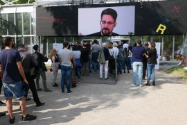 MILAN, ITALY – MAY 26: Computer security consultant Edward Snowden in connection from Russia during  the Wired Next Fest 2019 at the Giardini Indro Montanelli on May 26, 2019 in Milan, Italy. (Photo by Rosdiana Ciaravolo/Getty Images)