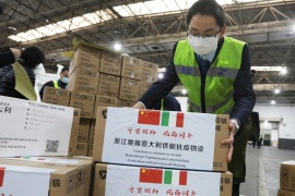 Staff members move medical supplies to be sent to Italy for the prevention of the novel coronavirus, following the coronavirus outbreak, at a logistics center of the international airport in Hangzhou, Zhejiang province, China March 10, 2020.  Picture taken March 10, 2020. China Daily via REUTERS ATTENTION EDITORS – THIS IMAGE WAS PROVIDED BY A THIRD PARTY. CHINA OUT.