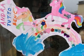 A child's drawing in a window in Florence. Photograph: Marta Achler/Guardian Community
