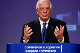 European High Representative for Foreign Affairs and Security Policy and Vice-President of the European Commission Josep Borrell, holds a virtual news conference on the approval of Operation Irini, at the European Commission in Brussels, Belgium March 31, 2020.  REUTERS/Francois Lenoir/Pool