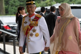 TOKYO, JAPAN – OCTOBER 22: King Sultan Abdullah Sultan Ahmad Shah and Queen Tunku Azizah Aminah Maimunah of Malaysia arrive to attend the Enthronement Ceremony Of Emperor Naruhito of Japan at the Imperial Palace on October 22, 2019 in Tokyo, Japan. (Photo by Carl Court/Getty Images)