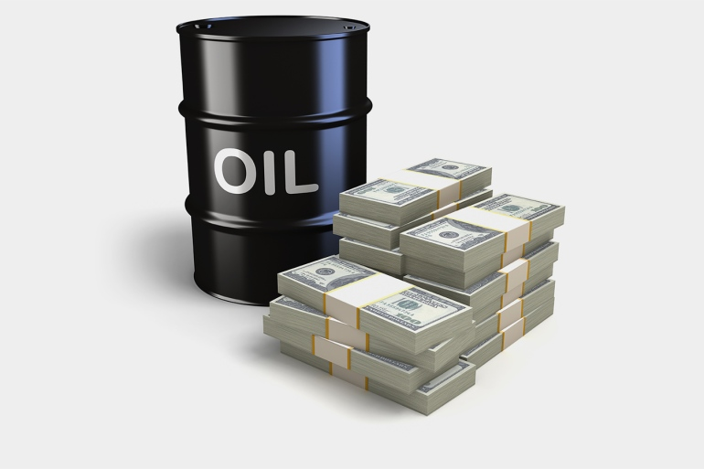 Oil barrel and Dollar bills.For more money and finance images: