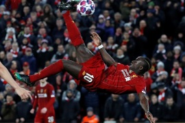 Soccer Football – Champions League – Round of 16 Second Leg – Liverpool v Atletico Madrid – Anfield, Liverpool, Britain – March 11, 2020  Liverpool's Sadio Mane shoots at goal   REUTERS/Phil Noble