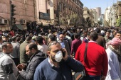 People wearing a protective mask in Cairo, Egypt, on March 8, 2020. Egyptians who wants to travel gathering front of egyptian health ministry to do corona-virus analysis before travel as a condition to enter the other countries. (Photo by Islam Safwat/NurPhoto via Getty Images)