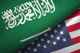 United States and Saudi Arabia flag together realtions textile cloth fabric texture