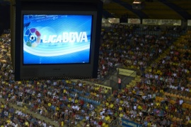 VILLARREAL, SPAIN – AUGUST 24:  Logo of the Liga BBVA is pictured on the monitors in the press room during the La Liga match between Villarreal CF and Real Valladolid CF at El Madrigal Stadium on August 24, 2013 in Villarreal, Spain.  (Photo by Manuel Queimadelos Alonso/Getty Images)