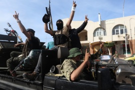 Libya's GNA seize Sabratha and Surman- – SABRATHA, LIBYA – APRIL 13: Libya's Government of National Accord forces celebrate after taking control of Sabratha and its Surman town from warlord Khalifa Haftar's forces within