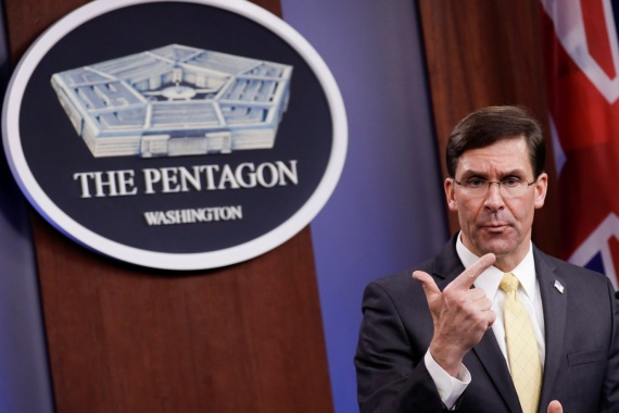 U.S. Defense Secretary Mark Esper gestures as he speaks during a joint news conference with Britain's Secretary of State of Defence Ben Wallace after their meeting at Pentagon in Arlington, Virginia, U.S., March 5, 2020. REUTERS/Yuri Gripas