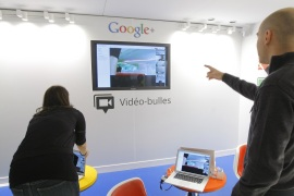 A video hangouts stand is pictured at the new headquarters of Google France before its official inauguration in Paris December 6, 2011.   REUTERS/Jacques Brinon/Pool  (FRANCE – Tags: POLITICS BUSINESS)