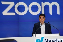Eric Yuan, CEO of Zoom Video Communications takes part in a bell ringing ceremony at the NASDAQ MarketSite in New York, New York, U.S., April 18, 2019.   REUTERS/Carlo Allegri