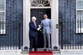 "Boris Johnson – Tamim bin Hamad al-Thani- – LONDON, UNITED KINGDOM – SEPTEMBER 20: (—-EDITORIAL USE ONLY – MANDATORY CREDIT – ""QATAR EMIRATE COUNCIL / HANDOUT"" – NO MARKETING NO ADVERTISING CAMPAIGNS – DISTRIBUTED AS A SERVICE TO CLIENTS—-) British Prime Minister Boris Johnson (L) shakes hands with Qatari Emir Sheikh Tamim bin Hamad al-Thani (R) as they pose for a photo prior to their meeting at 10 Downing Street in London, England on September 20, 2019."