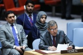 United Nations Security Council Meeting on Yemen- – NEW YORK, USA – JANUARY 16 : Permanent representative of Yemen to the United Nations Abdullah Ali Fadhel Al Saadi, makes a speech after the voting at the United Nations Headquarters in New York, United States on January 16, 2018.