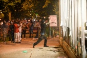Protesters gather near the Minneapolis Police third precinct