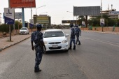 Three-week lockdown begins in Sudan- – KHARTOUM, SUDAN – APRIL 18: Sudanese police makes inspection at check points set up in main streets, after a three-week lockdown began as part of the coronavirus (Covid-19) precautions, on April 18, 2020 in Khartoum, Sudan.
