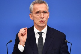 HERTFORD, ENGLAND – DECEMBER 04: Jens Stoltenberg, Secretary General of NATO talks at a press conference while attending the NATO summit at the Grove Hotel on December 4, 2019 in Hertford, England. France and the UK signed the Treaty of Dunkirk in 1947 in the aftermath of WW2 cementing a mutual alliance in the event of an attack by Germany or the Soviet Union. The Benelux countries joined the Treaty and in April 1949 expanded further to include North America and Canada followed by Portugal, Italy, Norway, Denmark and Iceland. This new military alliance became the North Atlantic Treaty Organisation (NATO). The organisation grew with Greece and Turkey becoming members and a re-armed West Germany was permitted in 1955. This encouraged the creation of the Soviet-led Warsaw Pact delineating the two sides of the Cold War. This year marks the 70th anniversary of NATO. (Photo by Leon Neal/Getty Images)