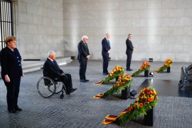 German Chancellor Angela Merkel, German Parliament President Wolfgang Schaeuble, German President Frank-Walter Steinmeier, Brandenburg's state premier Dietmar Woidke and Andreas Vosskuhle, President of Germany's Constitutional Court attend a wreath laying ceremony to mark the 75th anniversary of the end of World War Two, at the Neue Wache Memorial in Berlin, Germany, May 8, 2020. REUTERS/Hannibal Hanschke/Pool