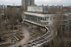 This photo taken March 23, 2016 shows an abandoned apartment buildings in the town of Pripyat near Chernobyl, Ukraine.This photo taken March 23, 2016 shows an abandoned apartment buildings in the town of Pripyat near Chernobyl, Ukraine. Efrem Lukatsky/AP Photo