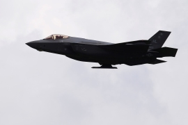epa07735928 US Air Force multirole combat aircraft F-35 Lightening II during defense operation Rapid Forge 2019 led by USA Expeditionary Force (USAEF) in Lielvarde Air Base, Latvia, 23 July 2019. The aim of the exercise is to improve the interoperability and cooperation of NATO and partner countries' resources and to strengthen operational capacity. EPA-EFE/VALDA KALNINA