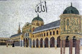 رسومات الموزاييك تناولت المعالم الدينية والأثرية بسوريا مثل الجامع الأموي بدمشق (الجزيرة)