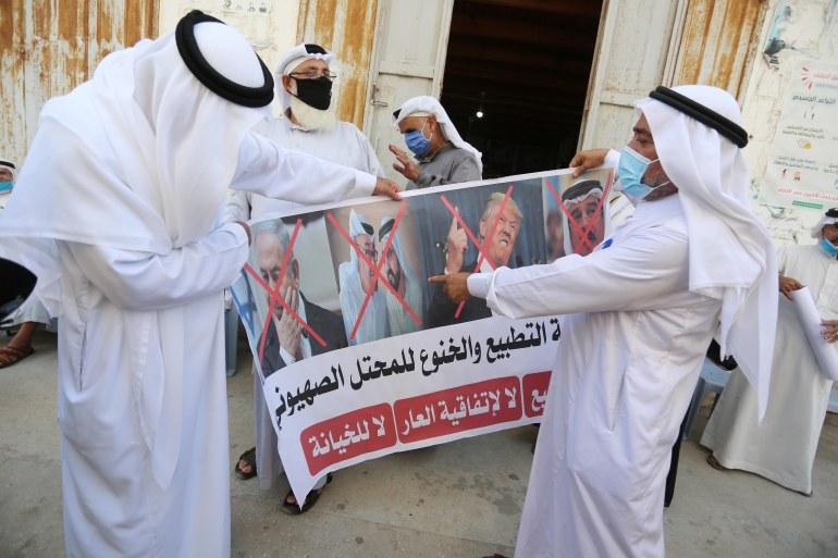 مظاهرة في قطاع غزة ضد التطبيع (الأناضول)