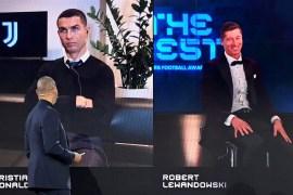 ليفاندوفسكي (يمين) ظفر بالجائزة ورونالدو حل في المركز الثاني (رويترز)