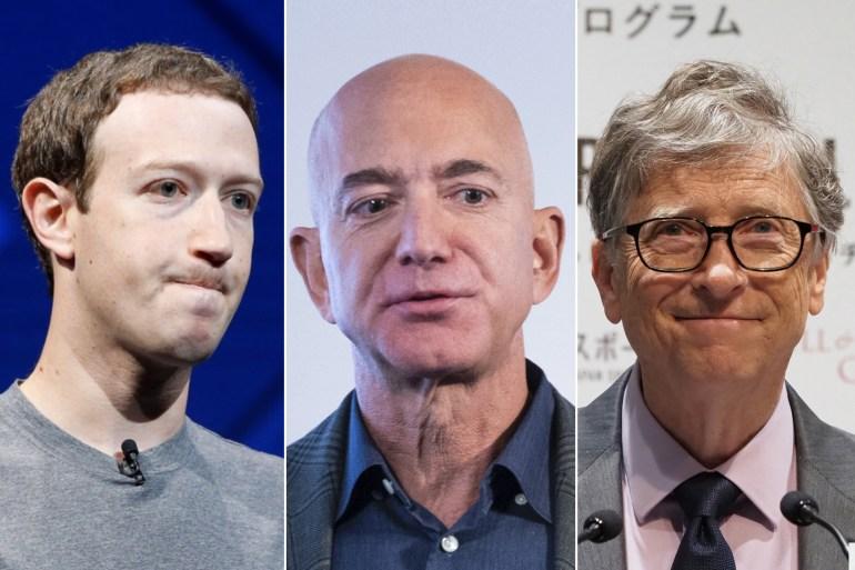 بيل غيتس (يمين) جيف بيزوس (وسط) ومارك زوكربيرغ من أغنياء العالم (وكالات)